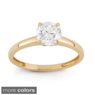 10k Gold 1ct TCW Round-cut Cubic Zirconia Solitaire Ring