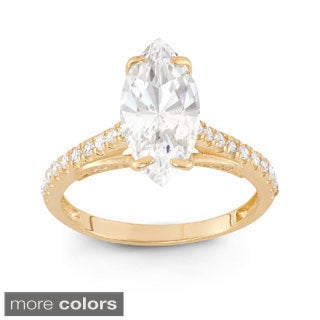 10k Gold 3 1/4ct TGW Marquise-cut Cubic Zirconia Ring
