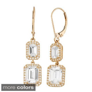 10k Gold 5 3/8ct TGW Emerald-cut Cubic Zirconia Leverback Earrings
