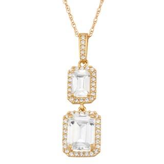 10k Gold Emerald-cut Cubic Zirconia Pendant Necklace