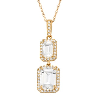 10k Gold Emerald-cut Cubic Zirconia Pendant Necklace