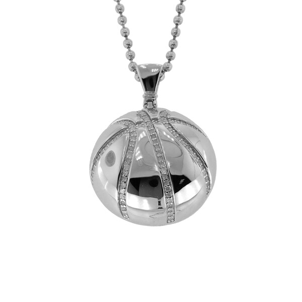 Shop Sterling Silver Diamond Accent Basketball Pendant - Free ... df73093b90dc