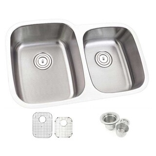 32-inch Offset Double 60/40 Bowl Undermount Stainless Steel Kitchen Sink Combo