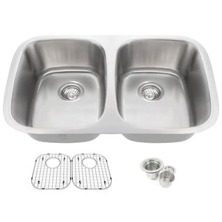 32.25-inch Offset Double 50/50 Bowl Undermount Stainless Steel Kitchen Sink Combo