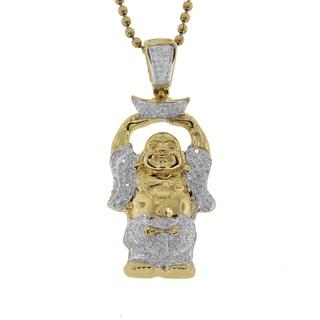 Goldtone Sterling Silver 0.88ct TDW Diamond Buddha Pendant (G-H, I2-I3)