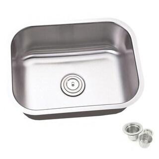 23.25-inch Single Bowl Undermount Stainless Steel Kitchen/ Island/ Bar Sink With Strainer