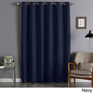 Aurora Home Silver Grommet Top Wide Thermal Insulated 96 Inch Blackout Curtain Panel - 80 x 95 (Navy)