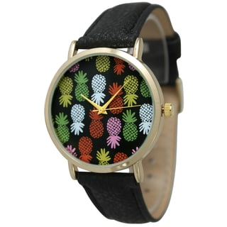 Olivia Pratt Women's Pineapple Pop Leather Band Watch