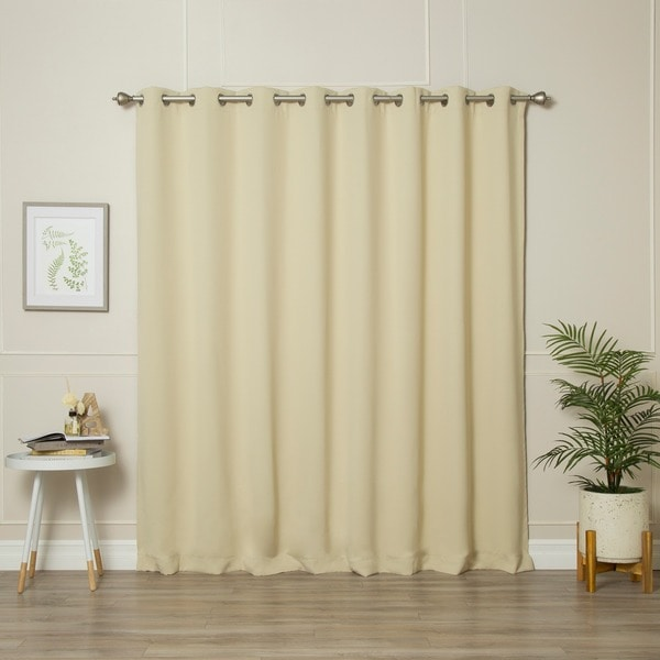 shop aurora home extra wide thermal insulated 84 inch blackout curtain panel 100 x 84 free. Black Bedroom Furniture Sets. Home Design Ideas