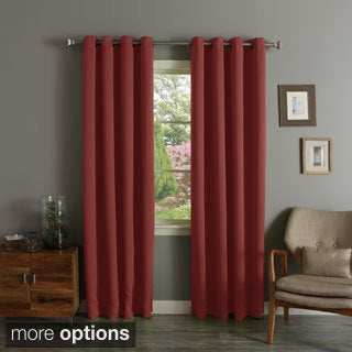 Aurora Home Brick Red Grommet Top Thermal Insulated Blackout Curtain Panel Pair