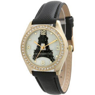 Olivia Pratt Women's Eiffel Tower Rhinestone Leather Strap Watch