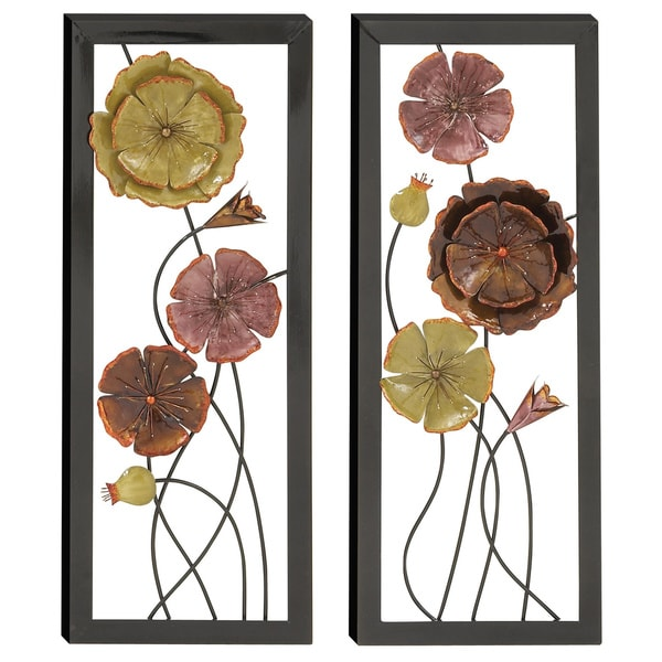 Wall Art Set Of 2 casa cortes 'spring flower blossom' 3d vertical metal wall art
