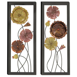 Casa Cortes 'Spring Flower Blossom' 3D Vertical Metal Wall Art (Set of 2)