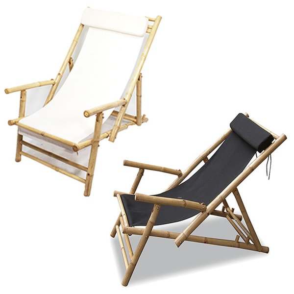 Heather ann folding bamboo sling chair with arms and head cushion