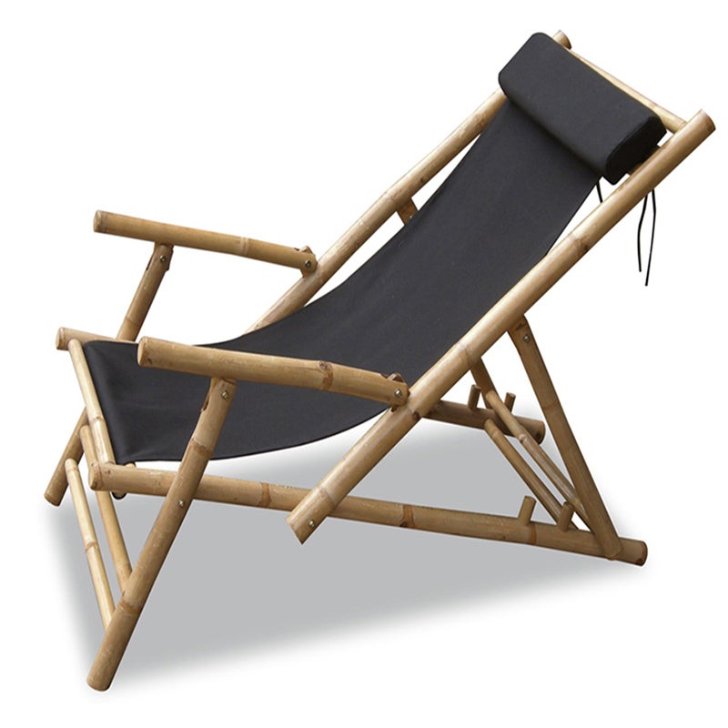 Heather Ann Folding Bamboo Sling Chair with arms and head...