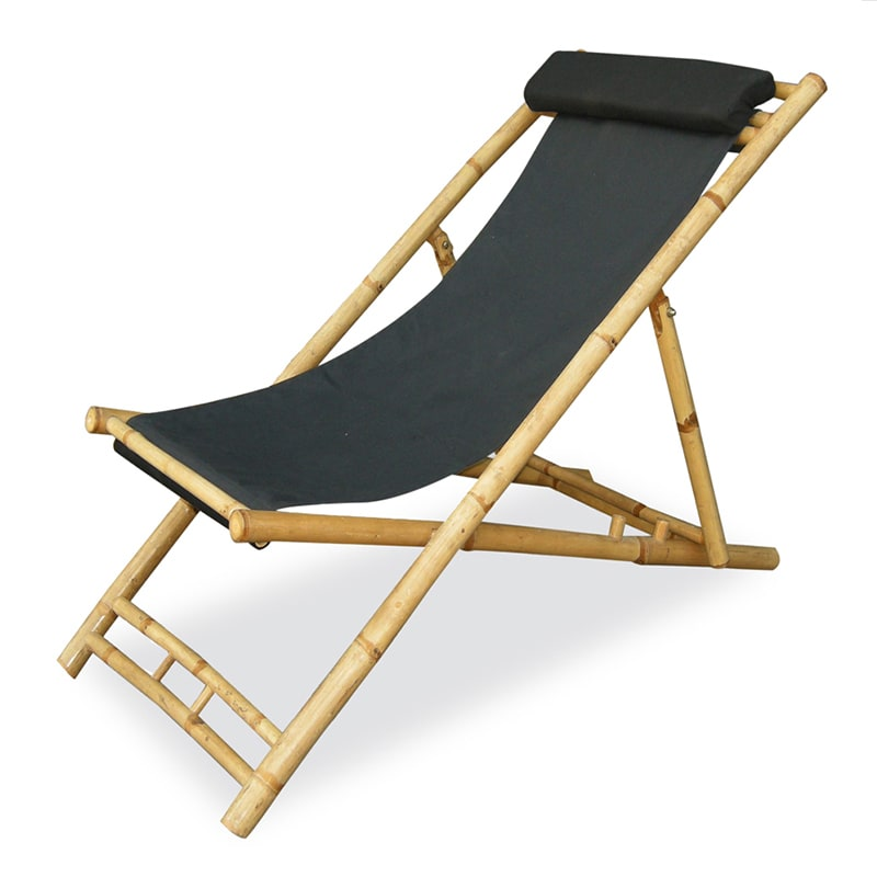 Heather Ann Folding Bamboo Sling Chair with head Cushion ...