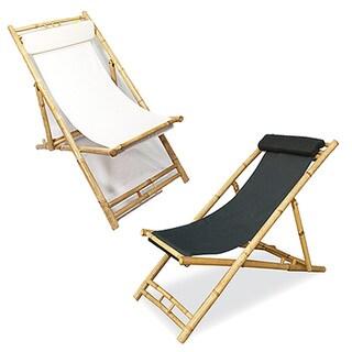 Heather Ann Folding Bamboo Sling Chair with head Cushion