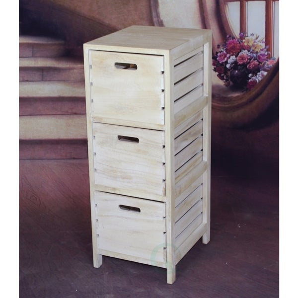 Shop Distressed Washed Wood Crates Cabinet 3 Drawer Chest