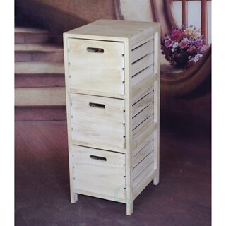 Distressed Washed Wood Crates Cabinet 3 Drawer Chest