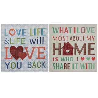 Love Life and What I love Inspirational Messages Canvas Wall Art Decor (Set of 2)