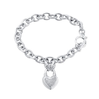 Divina Sterling Silver 1/4ct TDW Diamond Heart Locket Charm Bracelet