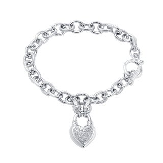 Divina Sterling Silver 1/4ct TDW Diamond Heart Locket Charm Bracelet