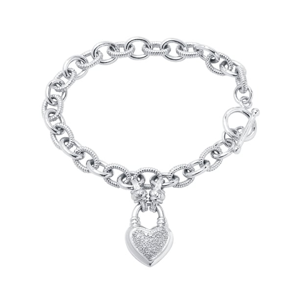 Divina Sterling Silver 1 4ct Tdw Diamond Heart Locket Charm Bracelet