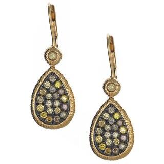 14k Yellow Gold 1 1/5ct TDW Champagne Diamond Textured Teardrop Earrings