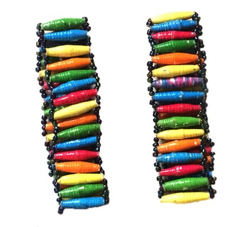 Set of 2 Namuwongo Recycled Paper Flat Beads Multi-colored Bracelets (Uganda)