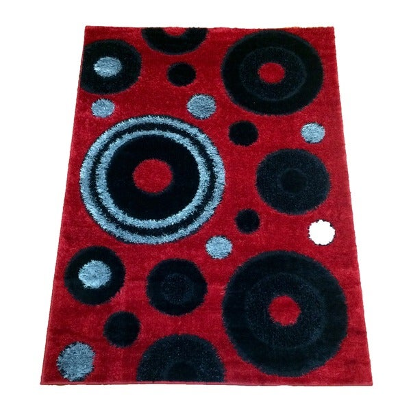 LYKE Home Rya Extra Plush Red Area Rug - 5'3 x 7'3