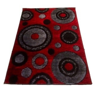 LYKE Home Rya Extra Plush Red Area Rug (5' x 8')