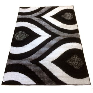 LYKE Home Rya Extra Plush Black Area Rug (5' x 8')