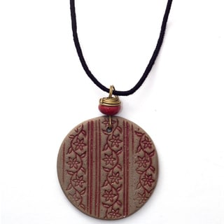 Handmade Printed Vines Ceramic Necklace (India)
