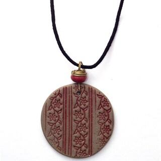 Handmade Printed Vines Ceramic Necklace (India)