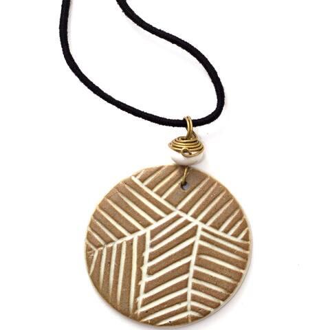 Handmade Light Circle Ceramic Necklace (India)