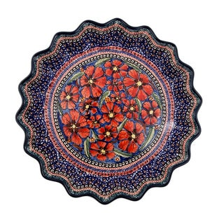 Handmade Polish Stonware Red and Blue Quiche Dish (Poland)