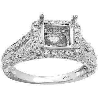18k White Gold 1.85 CTW Diamond Baguette/Round Semi Mount Engagement Ring (H-I, I1-I2)
