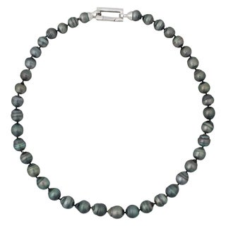 Sterling Silver Tahitian Cultured Pearl Strand Necklace (8-10mm)
