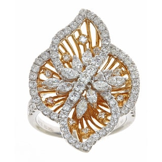 18k Two-tone Gold 2ct TDW Round and Marquise Diamond Ring