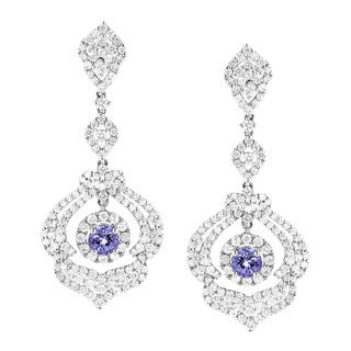 Luxurman 18k White Gold 3 3/4ct TDW Diamond and Tanzanite Dangle Earrings (G-H, VS1-VS2)