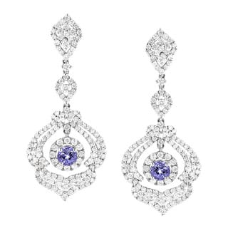 Luxurman 18k White Gold 3 3/4ct TDW Diamond and Tanzanite Dangle Earrings|https://ak1.ostkcdn.com/images/products/10066219/P17210771.jpg?impolicy=medium