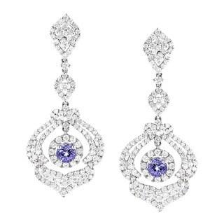 Luxurman 18k White Gold 3 3/4ct TDW Diamond and Tanzanite Dangle Earrings