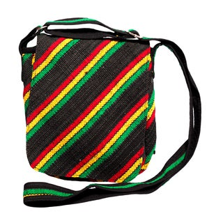 Handmade Black Rasta Stripe Hemp and Cotton Messenger Purse (Nepal)