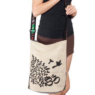 Handmade Hemp and Cotton Om Tree and Rasta Cross-body Handbag (Nepal)