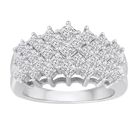 10k White Gold 2ct TDW Diamond 5-row Ring