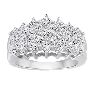 10k White Gold 2ct TDW Diamond 5-row Ring