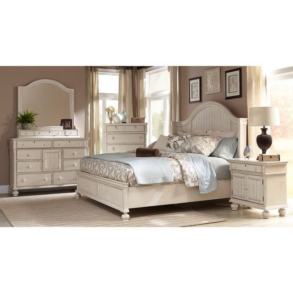 laguna antique white panel bed 6 piece bedroom set by greyson living - Antique Bedroom Sets