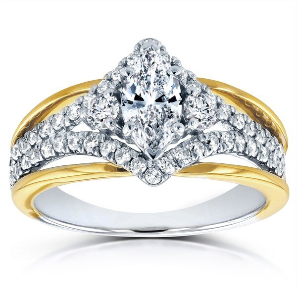 Art Deco Unique Diamond Wedding Ring 14k Two Tone Gold: Annello 14k Two-tone Gold 1ct TDW Art Deco Diamond