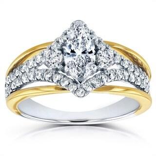 Annello 14k Two-tone Gold 1ct TDW Art Deco Diamond Engagement Ring