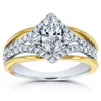 Annello by Kobelli 14k Two Tone Gold 1ct TDW Marquise Chevron Diamond Engagement Ring - White